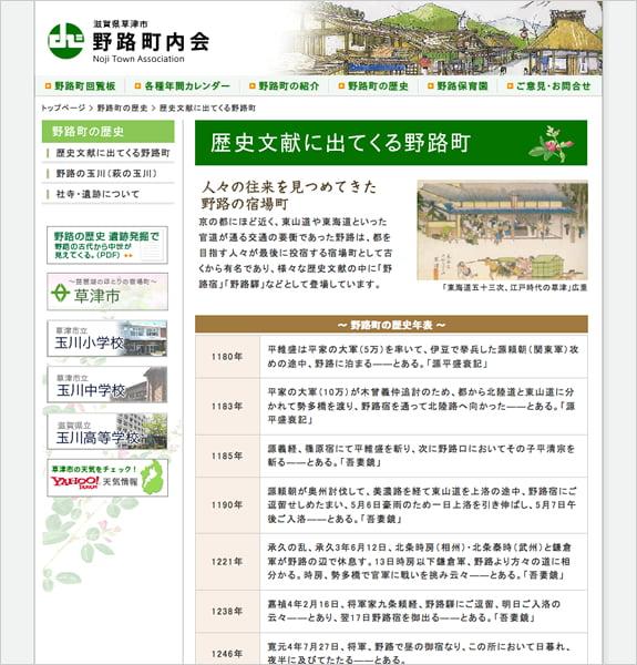 滋賀県草津市 野路町内会 下層ページ